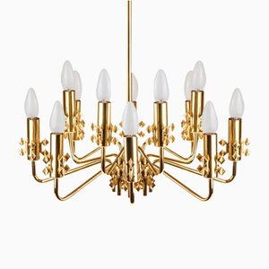 Mid-Century Brass Chandelier with 12 Lights, 1960s