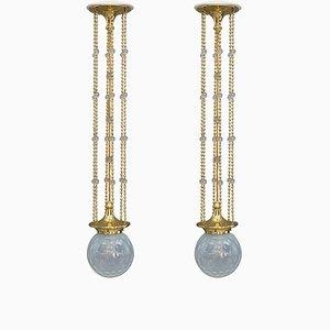 Jugendstil Pendants with Loetz Glasses from Bakalowits & Söhne, 1907, Set of 2