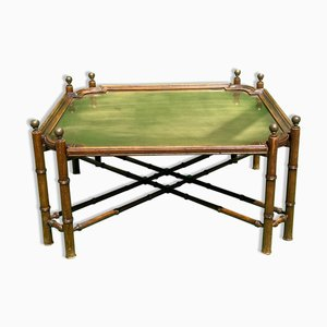 Mid-Century Spanish Faux Bamboo Coffee Table with Brass Top