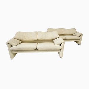 Vintage Maralunga Sofa Set by Vico Magistretti for Cassina, Set of 2