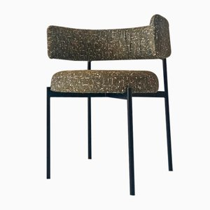 Black Lacquered Metal Armchair, 1990s