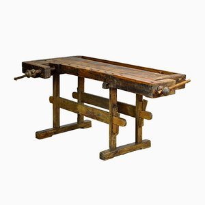 Antique Oak Carpenters Workbench, 1910