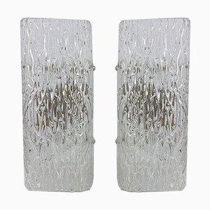 Eisglas Wandlampen von Kalmar, 1960er, 2er Set