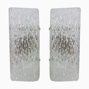 Ice Glass Wall Lamps from Kalmar, 1960s, Set of 2