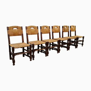 Rustic Oak Chairs, 1940s, Set of 6