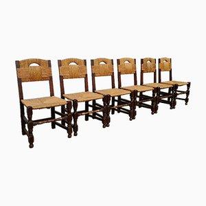 Rustikale Stühle aus Eiche, 1940er, 6er Set