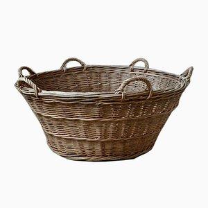 Large Bohemian Wicker Basket, 1930s