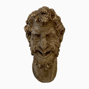 Large Art Deco French Plaster Head of a Satyr, 1930s