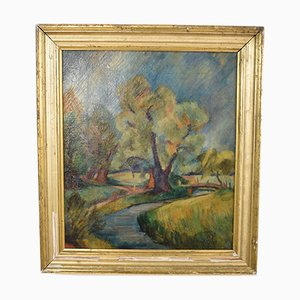 Early 20th Century German Art Deco Landscape Oil Painting, 1935