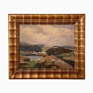 Deutsches Art Deco Landschafts-Ölgemälde, frühes 20. Jh., 1920er