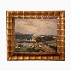 Early 20th Century German Art Deco Landscape Oil Painting Frame, 1920s