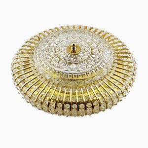 Round Mid-Century Ceiling or Wall Lamp in Glass & Brass, 1960s