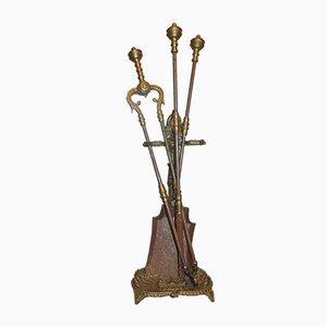 Art Nouveau Brass Stove & Fireplace Set