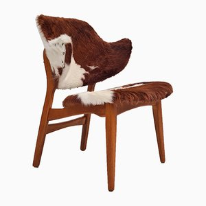 Danish Cowhide Lounge Chair by Ib Kofod Larsen for Christensen & Larsen, 1970s