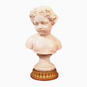 Antike Marmorstatue, Büste eines jungen Mädchens mit Blumenkranz, 19. Jh