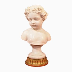 Antique Marble Statue, Bust of Young Girl with Flower Wreath, 19th-Century