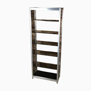 Bookcase in Chromed Aluminum and Smoked Glass, 1970s