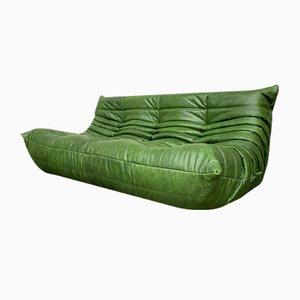 Canapé Togo Vintage en Cuir Vert Forêt par Michel Ducaroy pour Ligne Roset