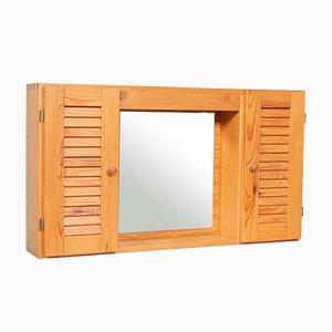 Mid-Century Danish Pine Wall Mirror and Cabinet, 1960s