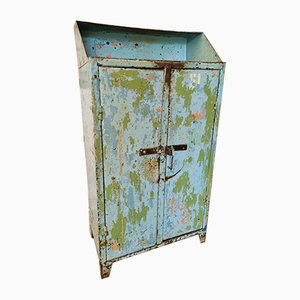 Industrial Blue and Green Steel Cabinet