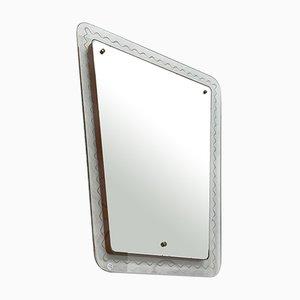 Mid-Century Italian Trapezoidal Mirror with Transparent Glass Frame, 1950s