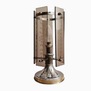 Mid-Century Tischlampe aus Rauchglas & verchromtem Metall