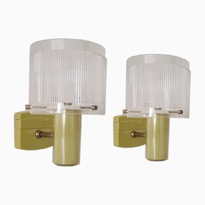 Mid-Century Modern Acrylic Wall Sconce Lamps, Set of 2
