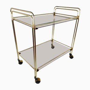 Mid-Century Glass and Gold Serving Trolley or Bar Cart, 1980s