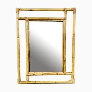 Mid-Century Spanish Modern Handmade Bamboo Wall Mirror