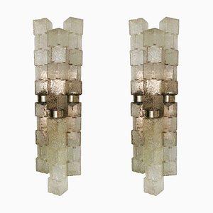 Italian Ice-Cube Glass Wall Lights from Zero Quattro, Set of 2