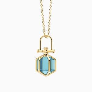 Modern Minimalist 18k Solid Gold Mini Six Senses Talisman Pendant Necklace with Natural Swiss Blue Topaz by Rebecca Li