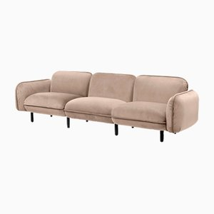 Bean 3-Seater Sofa Set in Beige Velour from Emko
