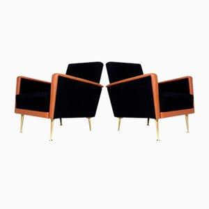 Mid-Century Italian Leather Lounge Chairs, Set of 2