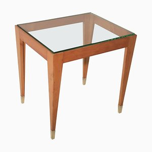 Mid-Century Italian Coffee Table with Brass Feet and Thick Beveled Glass