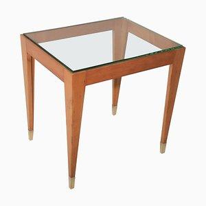Tavolino da caffè Mid-Century con piedi in ottone e vetro spesso smussato