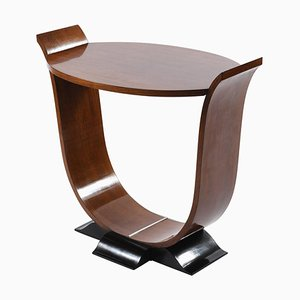 Art Deco Italian Oval Top and U Shaped Support Side Table