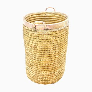 Basket in Rattan, Cooper and Brass, Italy, 1970s