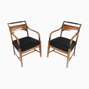 Armchairs in Birch Wood, 1840s, Set of 2