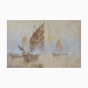 Oriental Boats Watercolor Painting, Early 20th Century