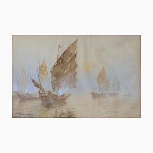 Peinture à l'Aquarelle de Bateaux Orientaux, Début 20ème Siècle