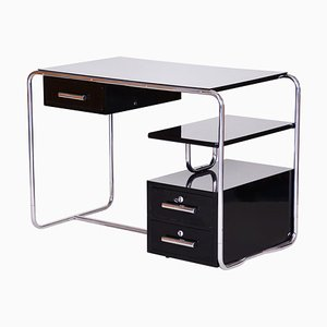 Black German Bauhaus Chrome Plated Steel Writing Desk, 1930s