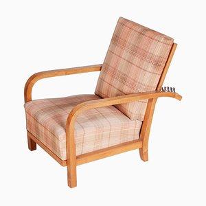Brown Pattern Walnut Art Deco Positioning Chair, 1930s