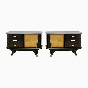Dutch Wooden Nightstands, 1950s, Set of 2