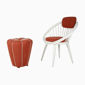 Lounge Chair with Tabouret, 1950s, Set of 2