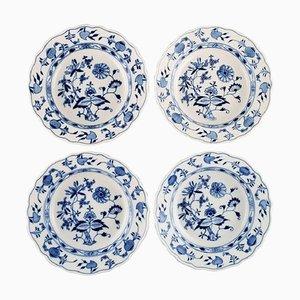 Antike blaue Meissen Zwiebelteller aus handbemaltem Porzellan, 4er Set