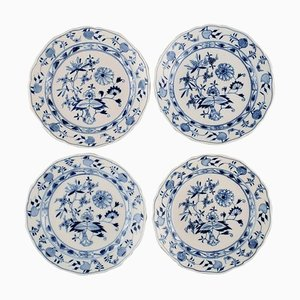 Antique Meissen Blue Onion Lunch Plates in Hand-Painted Porcelain, Set of 4