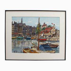 Hafen von Honfleur, Roland Hamon, Aquarell auf Papier, 1970er