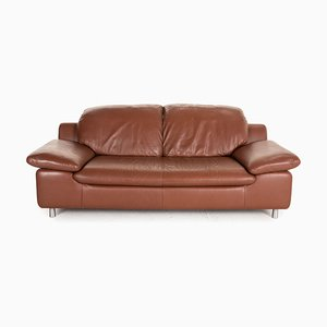 Brown Leather Sofa by Ewald Schillig