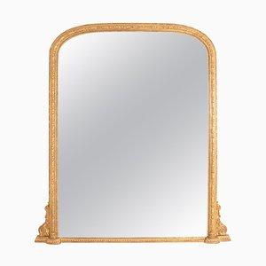Large English Gilded Overmantle Mirror, 1860