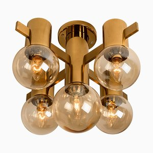 Brass and Glass Light Fixtures in the Style of Jakobsson, 1960s